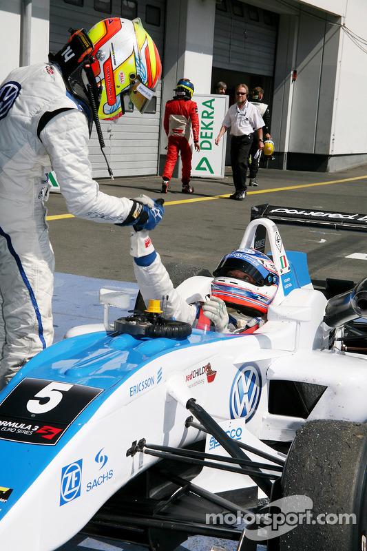 2de plaats Laurens Vanthoor, Signature, Dallara F308 Volkswagen en winnaar Edoardo Mortara, Signature, Dallara F308 Volkswagen