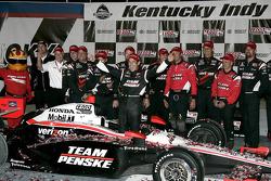Victory lane: race winner Helio Castroneves, Team Penske