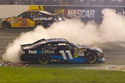 Race winner Denny Hamlin;Joe Gibbs Racing Toyota celebrates