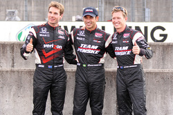 Pole winner Helio Castroneves, Team Penske, second place Ryan Briscoe, Team Penske, third place Will Power, Team Penske