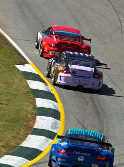 #44 Flying Lizard Motorsports Porsche 911 GT3 RSR: Darren Law, Seth Neiman, Marco Holzer, #88 Velox Motorsport Porsche 911 GT3 Cup: Shane Lewis, Jerry Vento, #17 Team Falken Tire Porsche 911 GT3 RSR: Bryan Sellers, Martin Ragginger