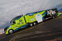 The Aflac hauler pulls into the track