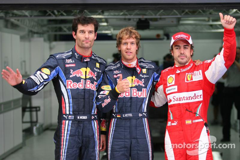 Polepositie Sebastian Vettel, Red Bull Racing, 2de Mark Webber, Red Bull Racing, 3de Fernando Alonso