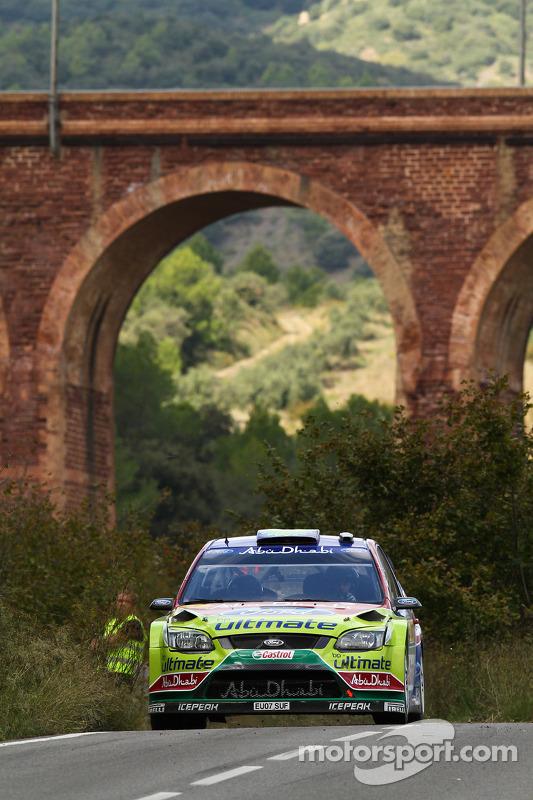 Khalid Al Qassimi en Michael Orr, Ford Focus RS WRC08, BP Ford Abu Dhabi World Rally Team