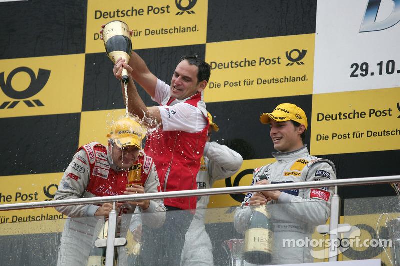 Podium: race winnaar Timo Scheider, Audi Sport Team Abt Audi A4 DTM, 3de Bruno Spengler, Team HWA AMG Mercedes C-Klasse