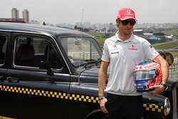 Jenson Button with a London Taxi