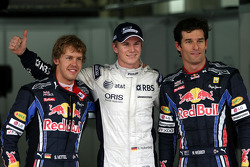 Pole winner Nico Hulkenberg, Williams F1 Team, with second place Sebastian Vettel, Red Bull Racing and third place Mark Webber, Red Bull Racing