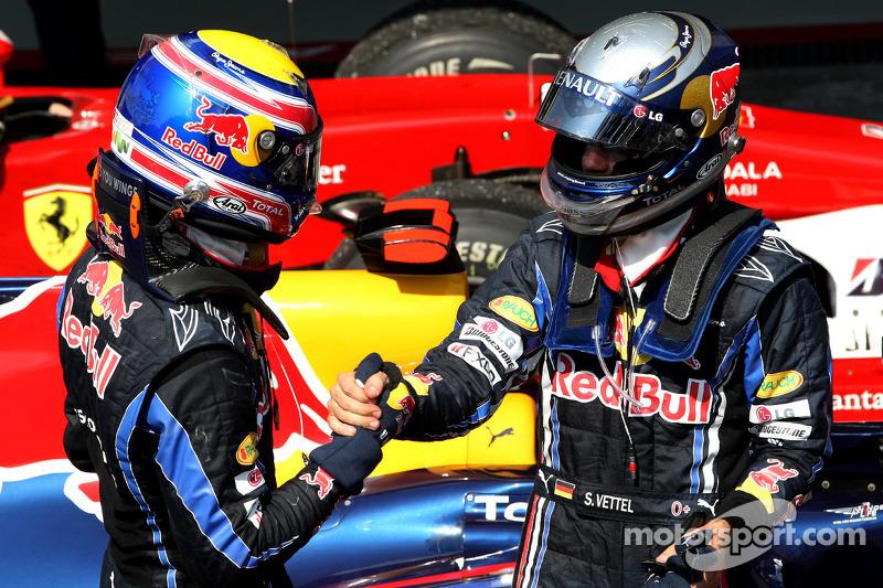 Race winnaar Sebastian Vettel, Red Bull Racing, 2de Mark Webber, Red Bull Racing