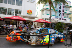 Wrecked car of Jeff Gordon, Hendrick Motorsports Chevrolet on display on Ocean Drive