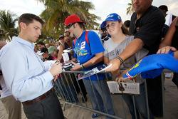 NASCAR Championship drive event in South Beach: Denny Hamlin, Joe Gibbs Racing Toyota signs autographs