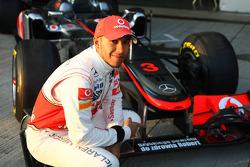 Lewis Hamilton, McLaren Mercedes with a get well message for Robert Kubica