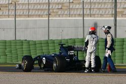 Rubens Barrichello, Williams F1 Team stops on track