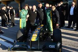 Lotus team photo, Jarno Trulli, Team Lotus, Mike Gascoyne, Team Lotus, Chief Technical Officer, Tony Fernandes, Team Lotus, Team Principal, Heikki Kovalainen, Team Lotus