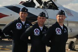 USAF Thunderbirds: Three pilots shown with Major Jelinke on left
