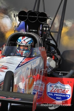 Shawn Langdon aboard his Lucas Oil / Speedco Top Fuel Dragster