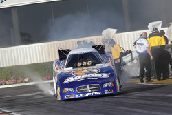 Jack Beckman doing a burnout in his Aarons / Valvoline Dodge Charger