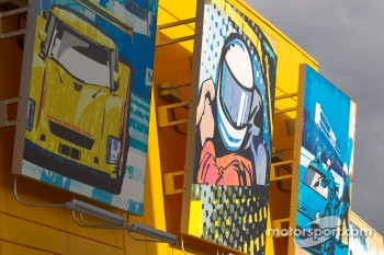 Colorful artwork on the Homestead pit building