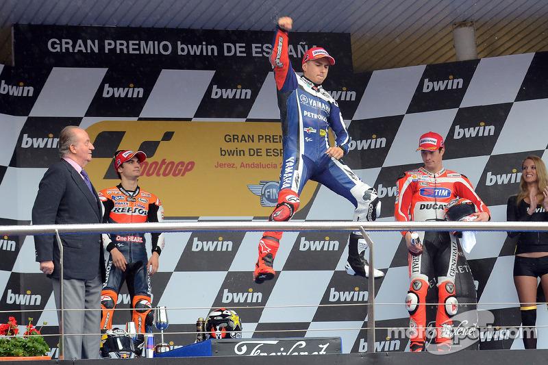Pódio: 1º Jorge Lorenzo, 2º Dani Pedrosa, 3º Nicky Hayden