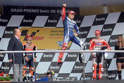 Podium : le vainqueur Jorge Lorenzo, Yamaha Factory Racing, le deuxième Dani Pedrosa, Repsol Honda Team, le troisième Nicky Hayden, Ducati Team