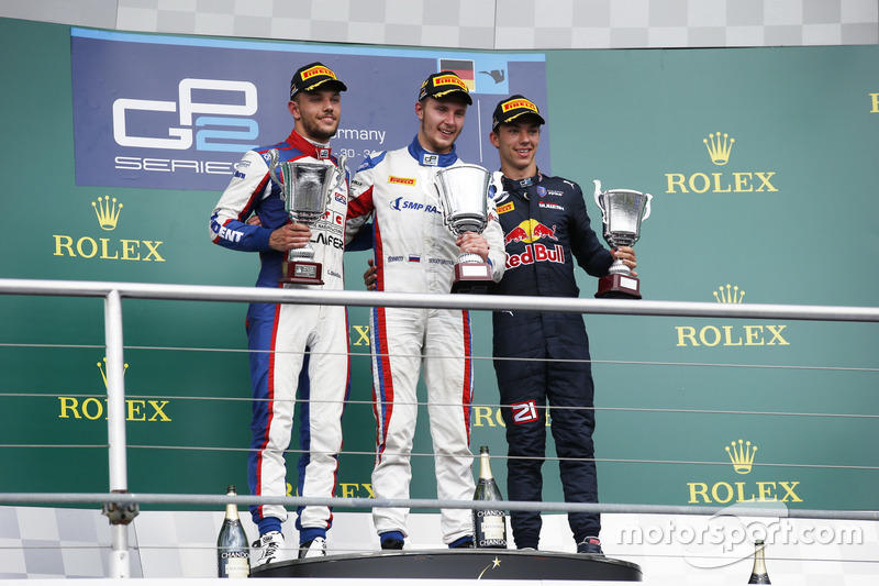 Sergey Sirotkin, ART Grand Prix, Luca Ghiotto, Trident et Pierre Gasly, PREMA Racing stand on the podium