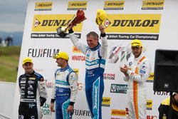 Podium: Race winner Jason Plato, Subaru Team BMR; Tom Ingram, Speedworks Motorsport; Colin Turkington, Subaru Team BMR; Jack Goff, Team IHG Rewards Club
