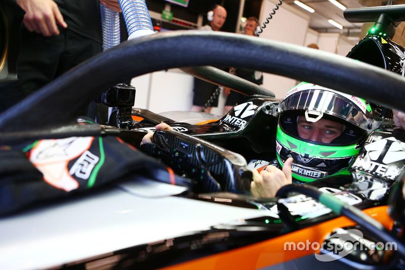 Nico Hulkenberg, Sahara Force India F1 VJM09 met de halo cockpitbescherming