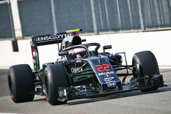 Jenson Button, McLaren MP4-31 con il dispositivo Halo