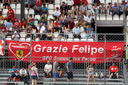 A banner for Felipe Massa, Williams from Ferrari fans in the grandstand
