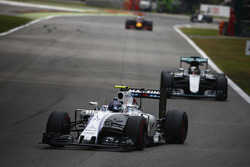 Valtteri Bottas, Williams FW38 Mercedes, leads Lewis Hamilton, Mercedes F1 W07 Hybrid