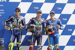 Polesitter Jorge Lorenzo, Yamaha Factory Racing, tweede plaats Valentino Rossi, Yamaha Factory Racing, derde plaats Maverick Viñales, Team Suzuki Ecstar MotoGP