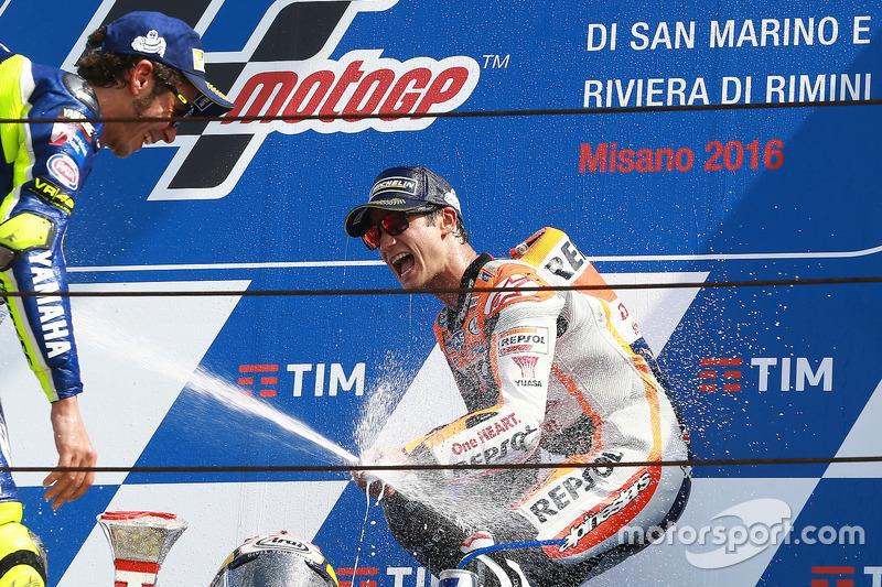 Il vincitore della gara Dani Pedrosa, Repsol Honda Team, il secondo classificato Valentino Rossi, Yamaha Factory Racing