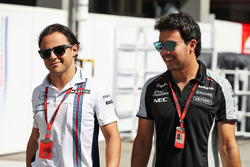 (L to R): Felipe Massa, Williams with Sergio Perez, Sahara Force India F1