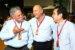 (L to R): Chase Carey, Formula One Group Chairman with Ron Dennis, McLaren Executive Chairman and Takahiro Hachigo Honda CEO