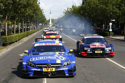 Le auto di Augusto Farfus, BMW Team MTEK, BMW M4 DTM, Paul Di Resta, Mercedes-AMG Team HWA, Mercedes-AMG C63 DTM and Jamie Green, Audi Sport Team Rosberg, Audi RS 5 DTM at Budpest city