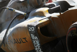 The burned car of Kevin Magnussen, Renault Sport F1 Team RS19