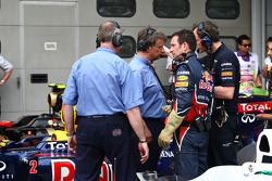 FIA talking with the mechanics Red Bull over the car of Sebastian Vettel, Red Bull Racing