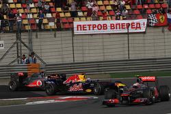 Sebastian Vettel, Red Bull Racing and Lewis Hamilton, McLaren Mercedes and Jenson Button, McLaren Mercedes