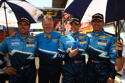 Yvan Muller, Chevrolet Cruz 1.6T, Chevrolet 3rd position, Eric Neve, Chevrolet Europe Motorsport Manager, Robert Huff, Chevrolet Cruze 1.6T, Chevrolet race winner and Alain Menu, Chevrolet Cruze 1.6T, Chevrolet 2nd position