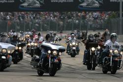 Parade of 100 bikes