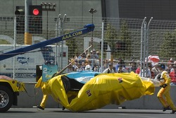 The wrecked car of Graham Rahal