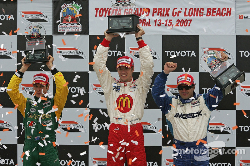 Podium: 2007 Long Beach winner Sébastien Bourdais celebrates with Oriol Servia (2nd) and Will Power (3rd)