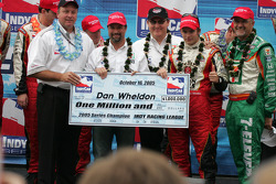 2005 IRL champion Dan Wheldon receives a cool 1 million dollars check