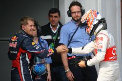 Race winner Sebastian Vettel, Red Bull Racing with Jenson Button, McLaren Mercedes