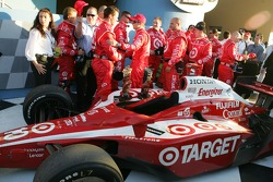 Victory lane: race winner Dan Wheldon celebrates with his team