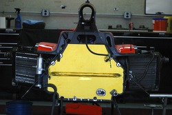 Indy car tub sits ready for an engine