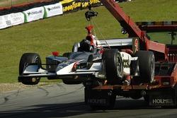 Tomas Scheckter being halled away