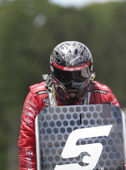 Cruz Pedregon emerging from his Toyota Camry after defeating his brother Tony Pedregon during round two of eliminations at the Southern Nationals