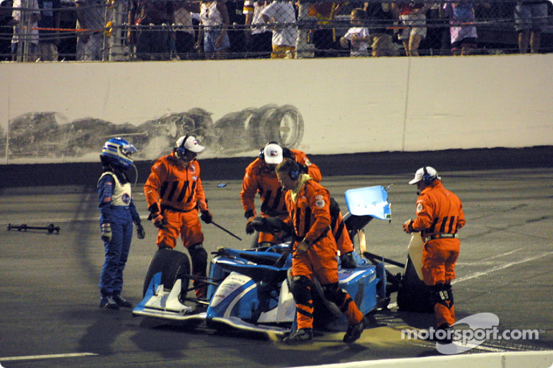 Sarah Fisher out of the car