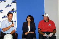 Indy Racing League President and CEO Tony George, talks about the Indy Racing Infiniti Pro Series while Caterina Dallara of chassis manufacturer Dallara, and Indy Racing League Vice President of Operations Brian Barnhart look on