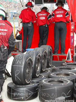 Tires lined up for the next pitstop